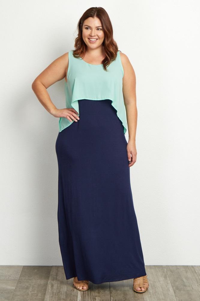 d8ee9f31b8e Mint Green Overlay Plus Size Maternity Maxi Dress