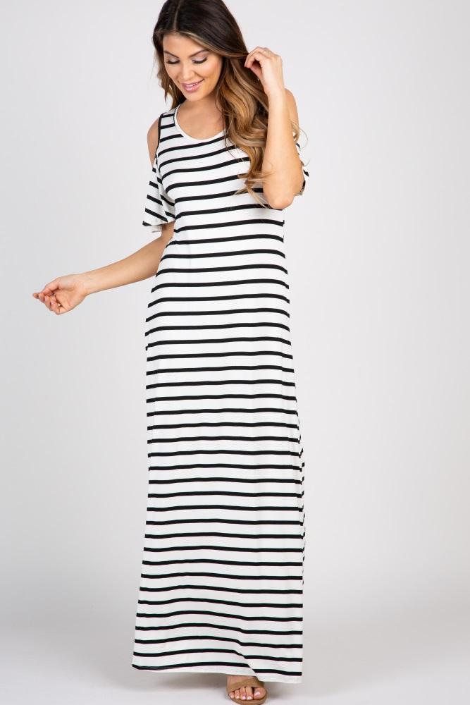 a8dfce313f0 Black Striped Cold Shoulder Maternity Maxi Dress