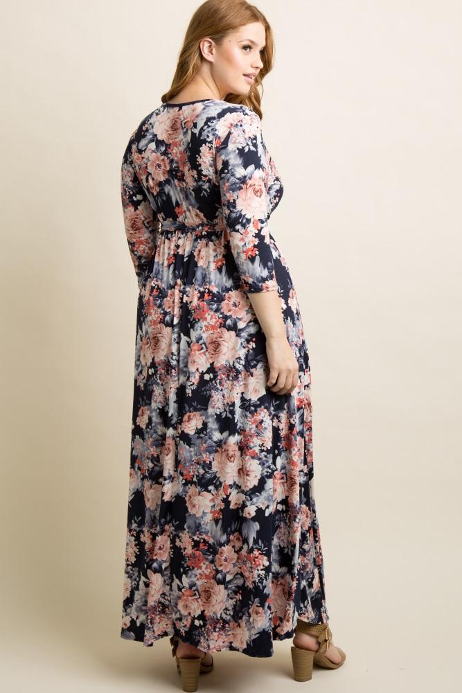 66604ca4e Navy Floral Plus Maternity/Nursing Wrap Dress