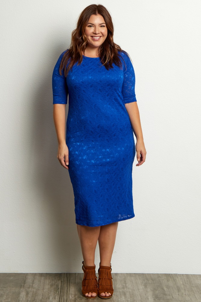 Royal Blue Lace Plus Size Maternity Dress
