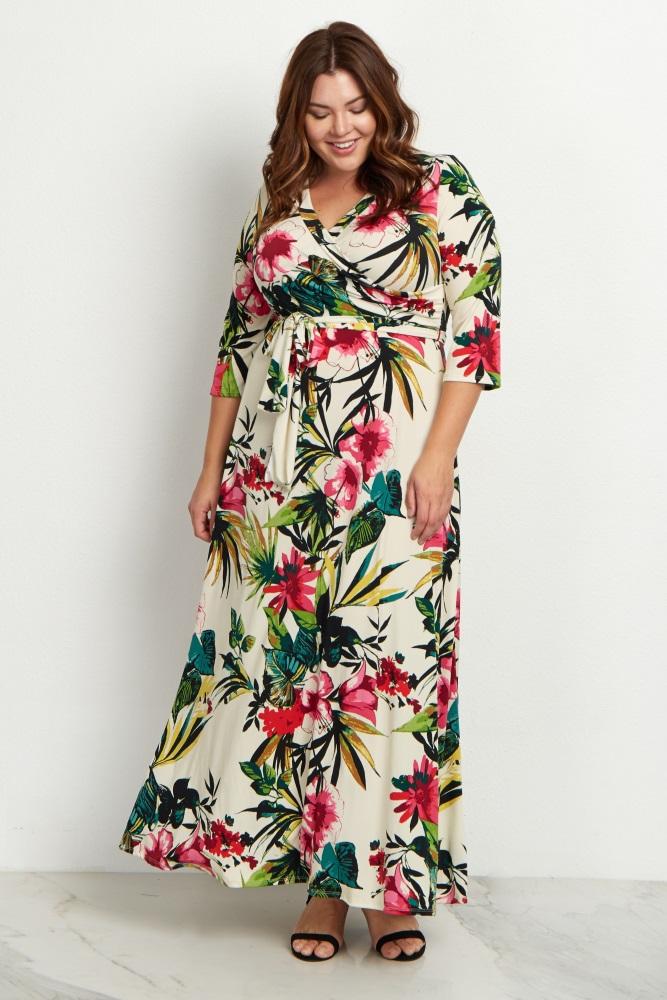 Ivory Tropical Plus Maternity/Nursing Maxi Dress