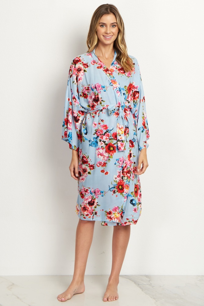 6c85b2365c8a5 Light Blue Floral Delivery/Nursing Maternity Robe