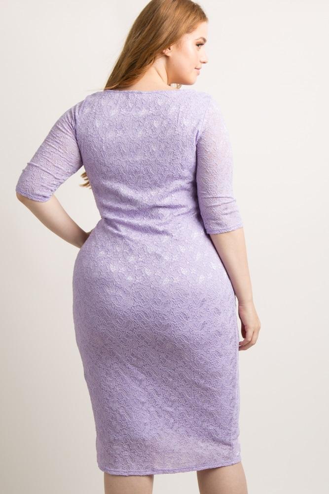 Purple Lace Plus Dress