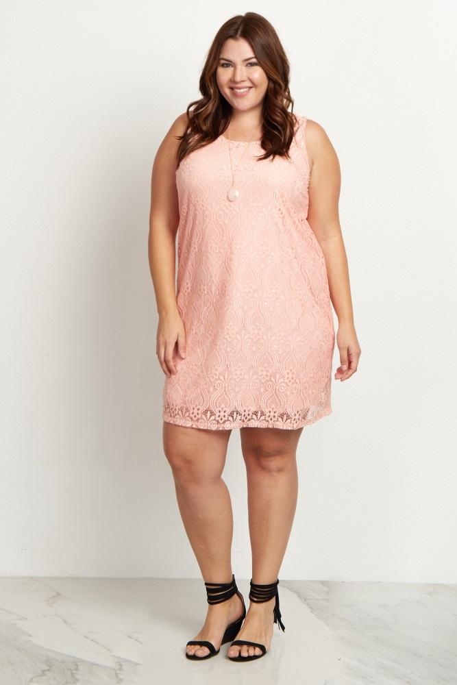 Pink Sleeveless Lace Plus Size Maternity Dress
