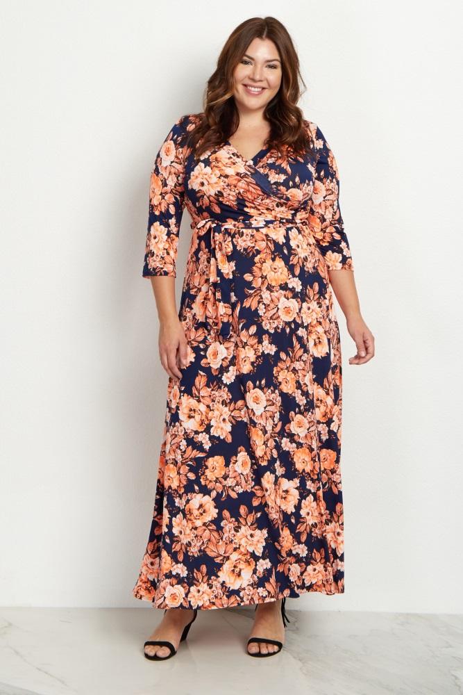 Orange Floral Draped Plus Size Maternity Maxi Dress