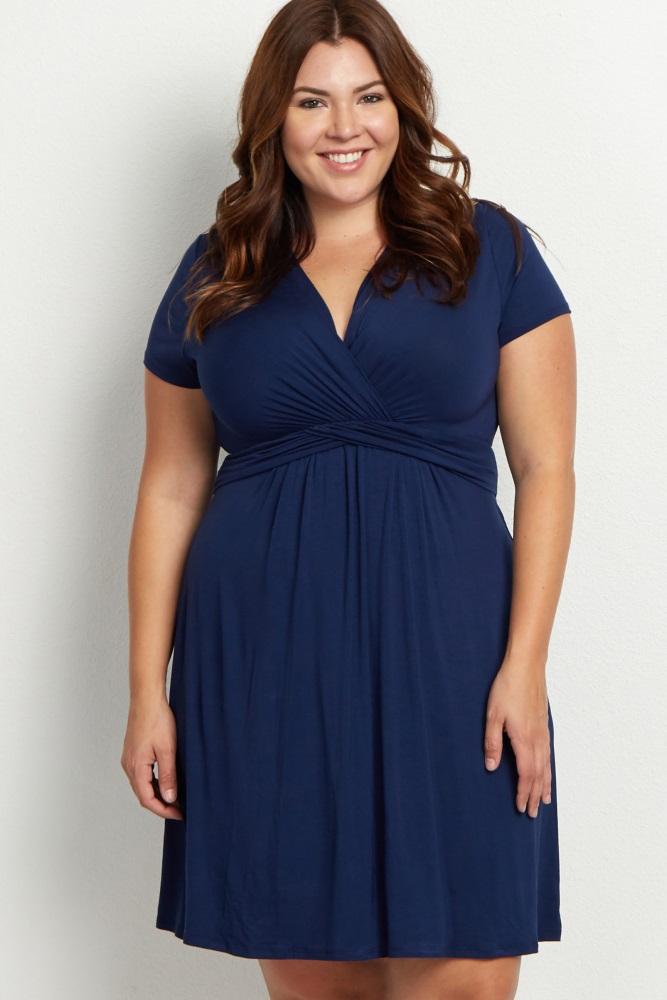 201bfc33e04 Navy Blue Draped Front Maternity Nursing Plus Dress