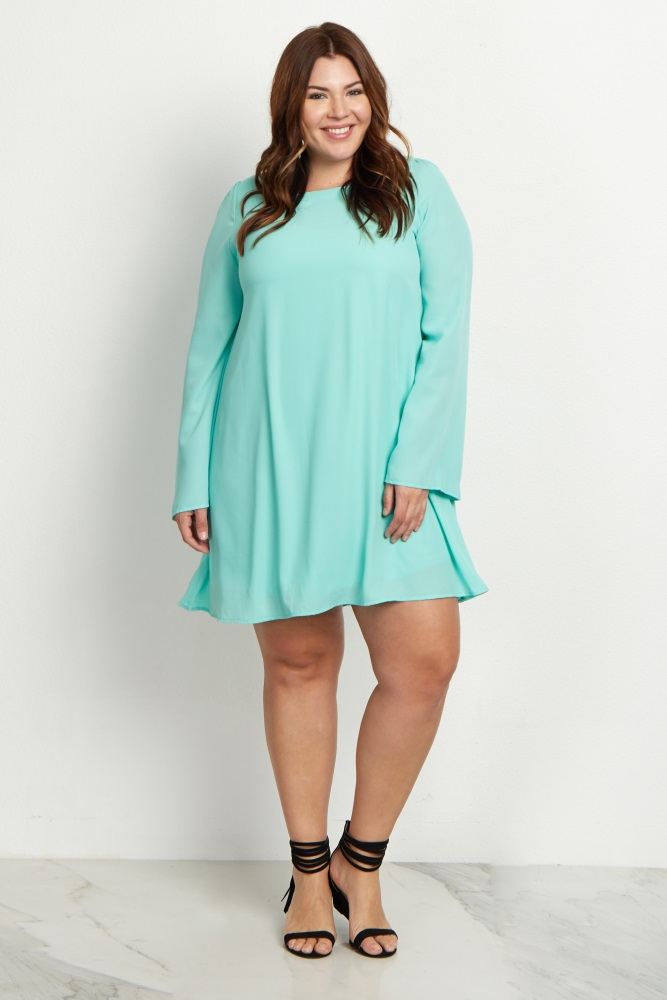 Mint Green Chiffon Bell Sleeve Plus Size Dress