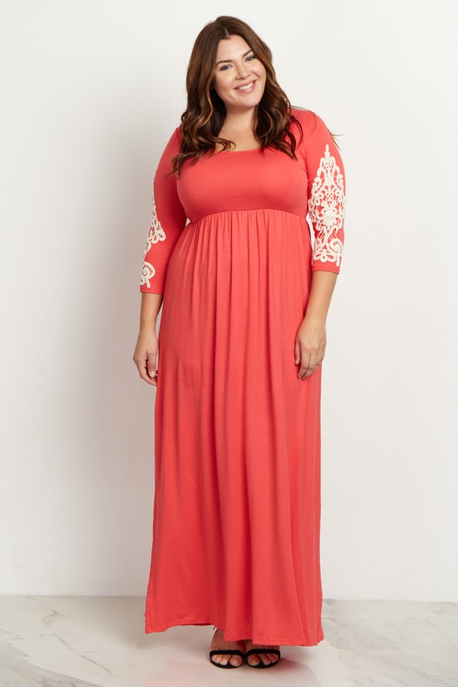 Coral Crochet Sleeve Plus Size Maxi Dress