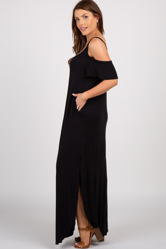 e7b4e99d25c Black Cold Shoulder Maternity Maxi Dress