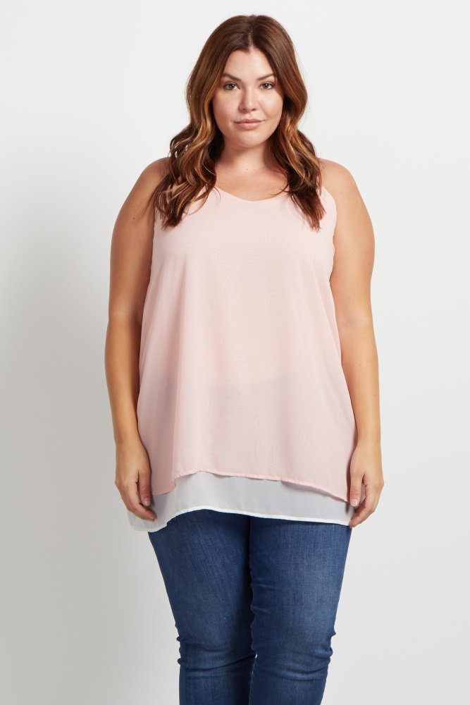 31231bd3a8ac1 Light Pink Layered Chiffon Plus Size Maternity Tank Top