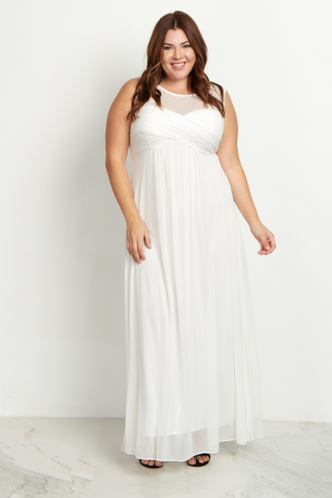 White Mesh Neckline Ruched Bust Plus Size Evening Gown