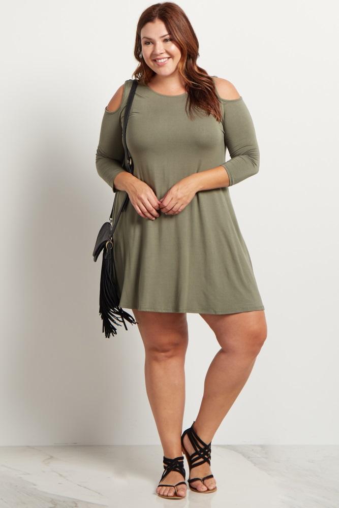 Magenta Cold Shoulder Plus Size Tunic/Dress