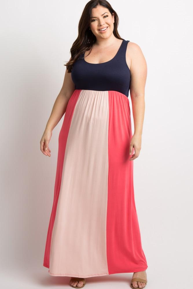 Navy Blue Colorblock Plus Size Maxi Dress