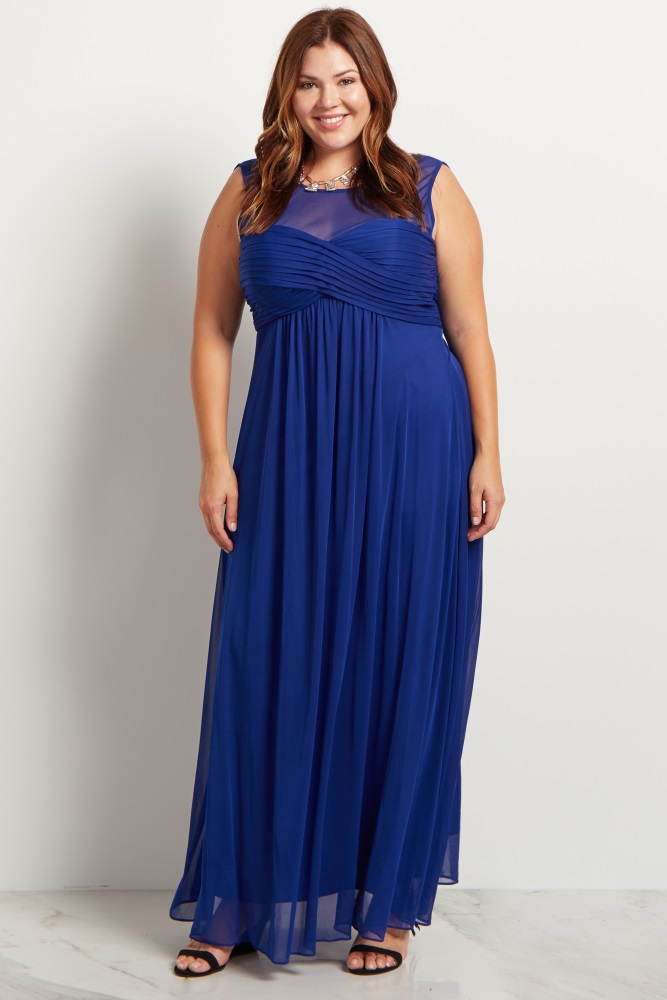 Royal Blue Mesh Neckline Ruched Bust Plus Size Maternity Evening Gown