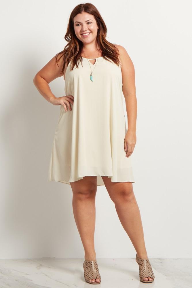 Beige Chiffon Cutout Plus Size Maternity Mini Dress