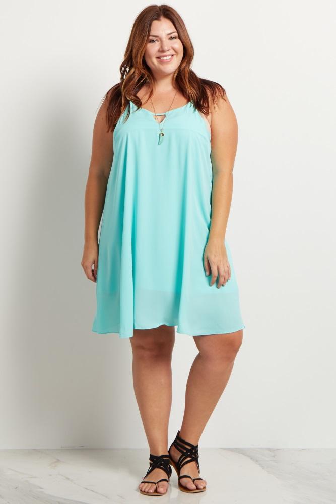 Mint Green Chiffon Cutout Plus Size Maternity Mini Dress