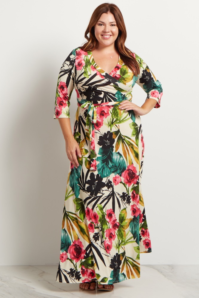 80008612ad5 Ivory Tropic Floral 3 4 Sleeve Plus Size Maternity Maxi Dress
