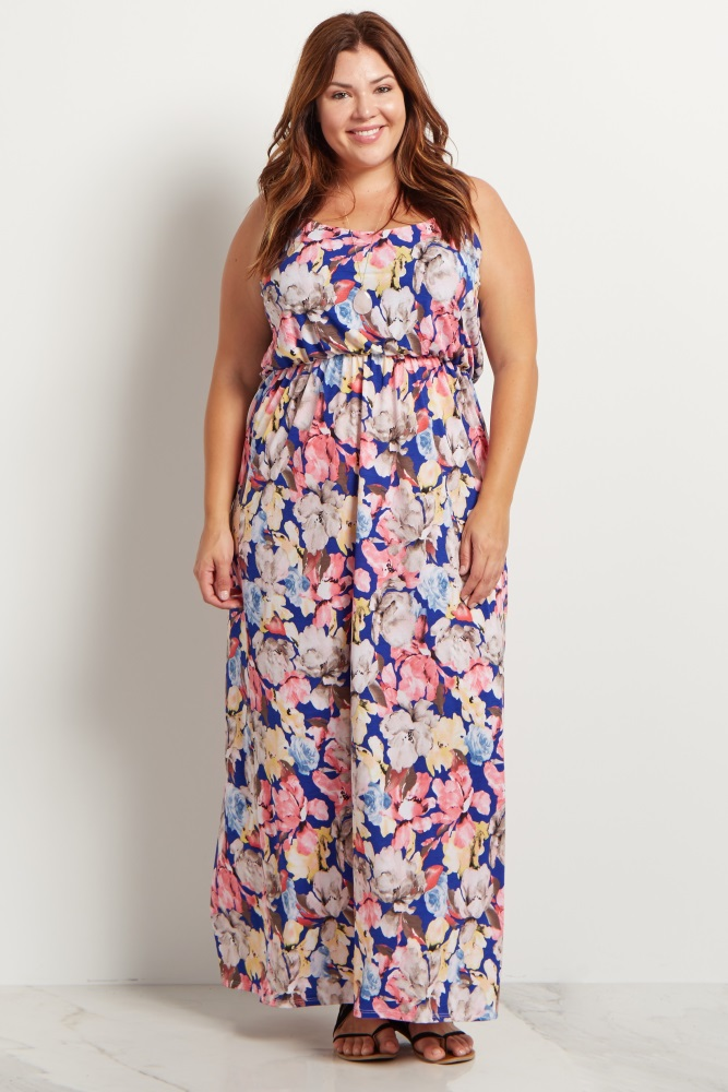 Royal Blue Floral Plus Size Maternity Maxi Dress
