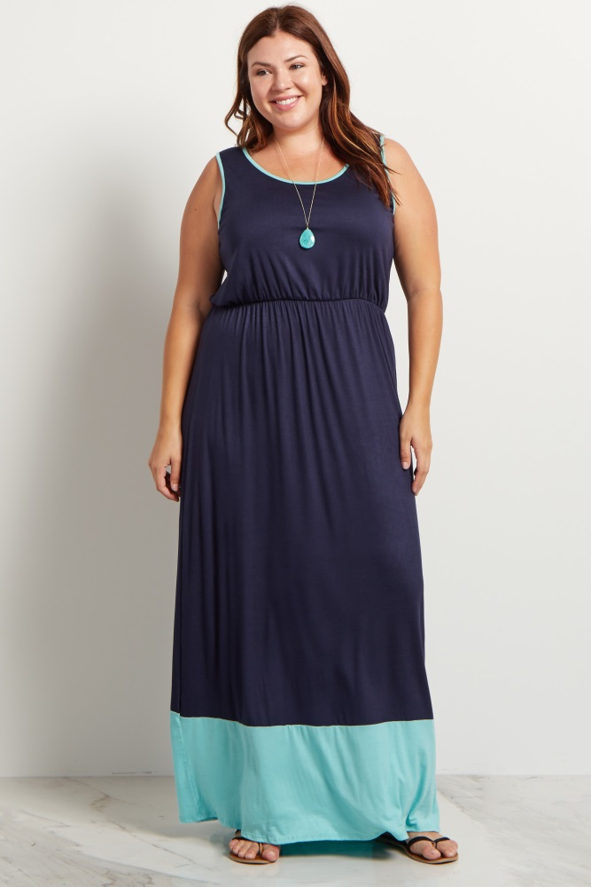 Navy Blue Mint Colorblock Plus Size Maxi Dress