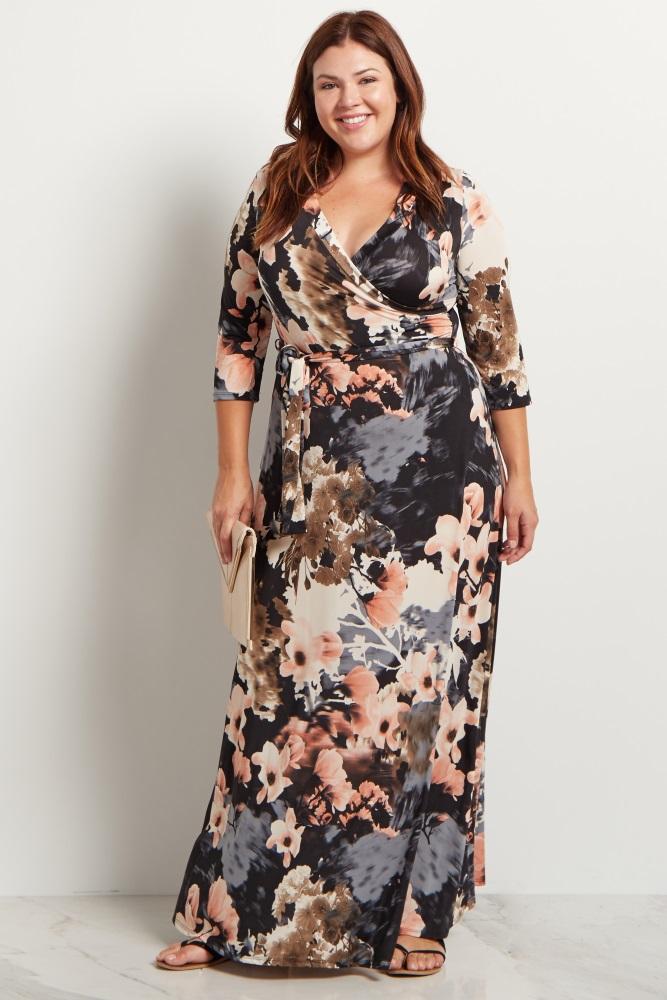 4feda89195fd9 Black Floral Sash Tie Plus Maternity/Nursing Maxi Dress