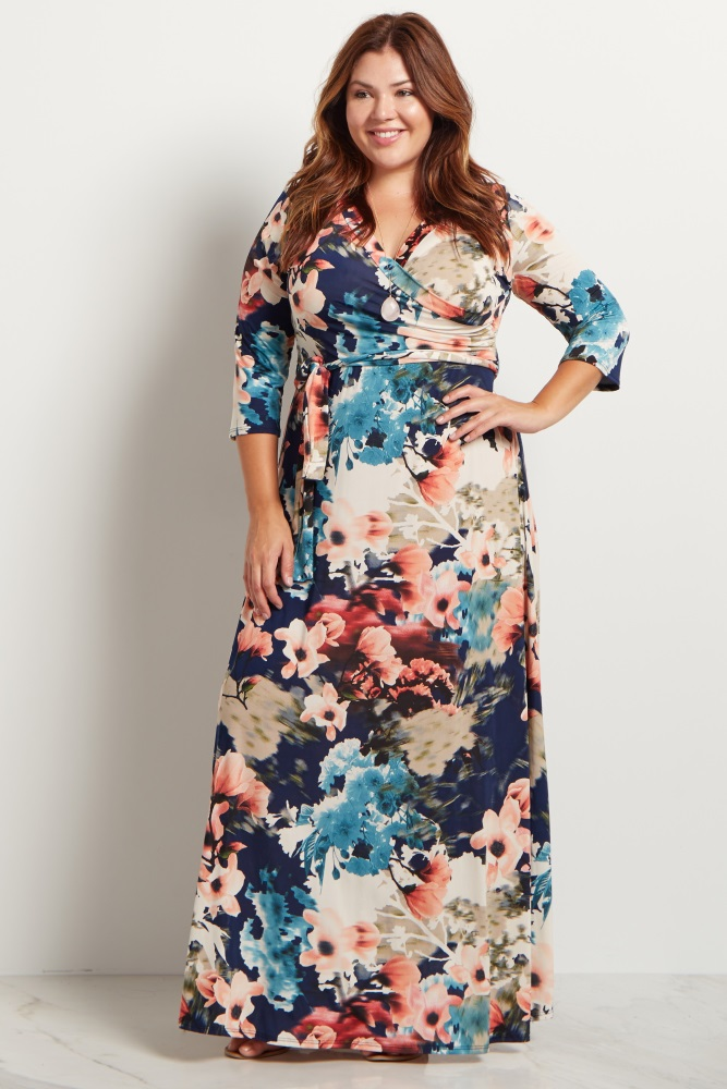 Navy Floral Sash Tie Plus Maxi Dress