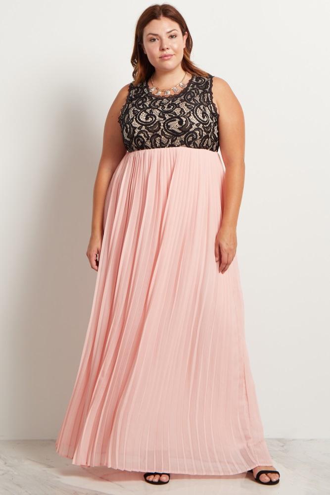 39d02aacc8a Light Pink Pleated Chiffon Lace Top Plus Maternity Maxi Dress