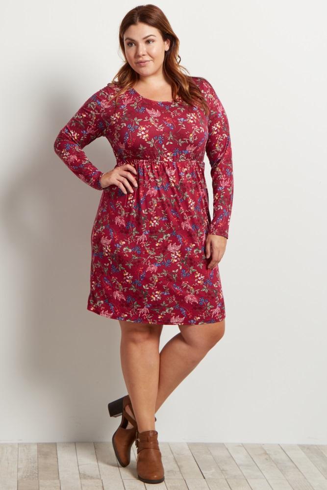 Burgundy Floral Plus Size Babydoll Dress