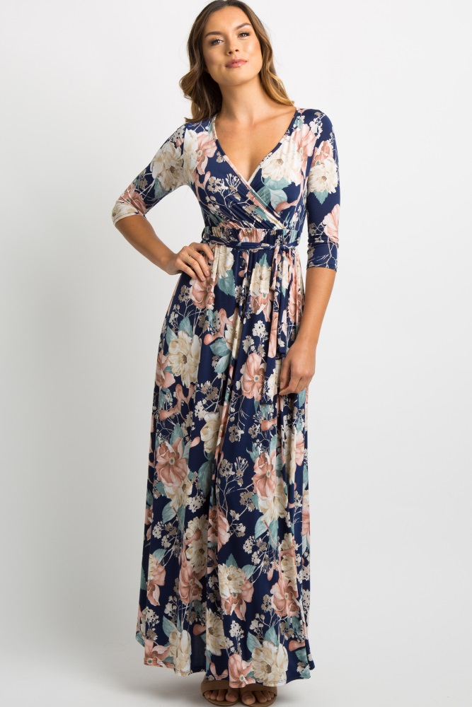 e54307207234 Navy Blue Floral Sash Tie Maternity Maxi Dress
