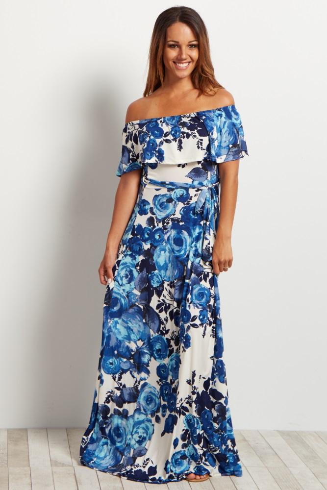 5b8d22bf2566 Navy Blue Floral Off Shoulder Maternity Maxi Dress
