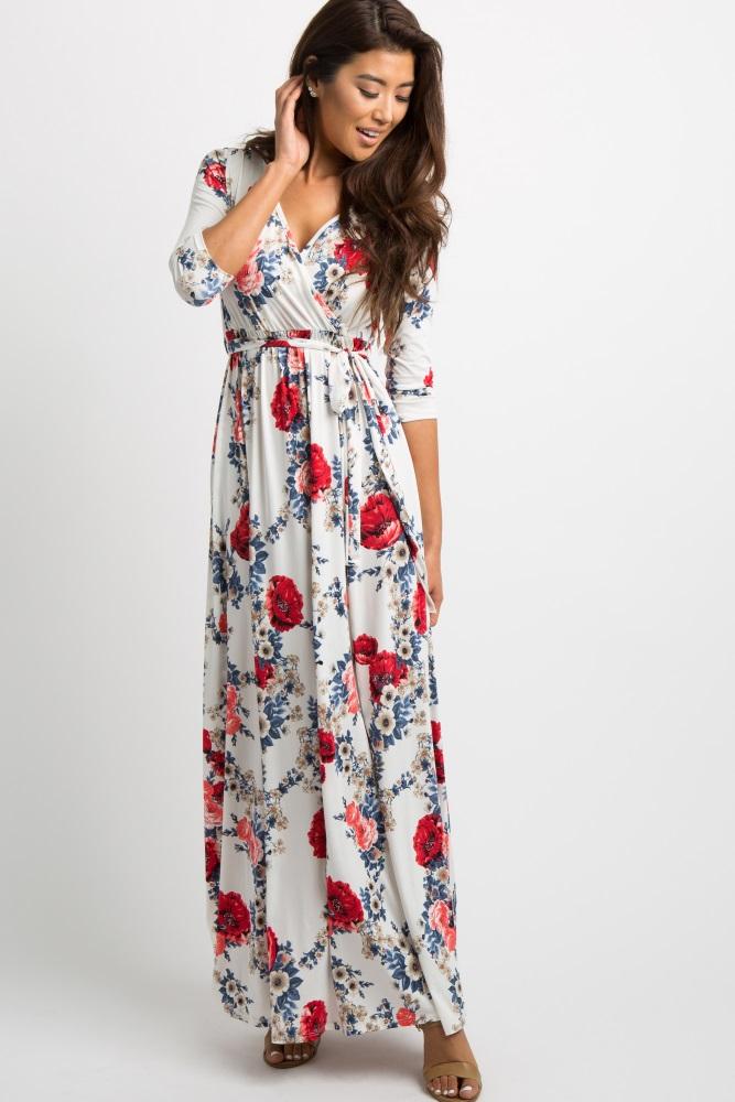 0257bdda386 White Garden 3 4 Sleeve Wrap Maternity Nursing Maxi Dress