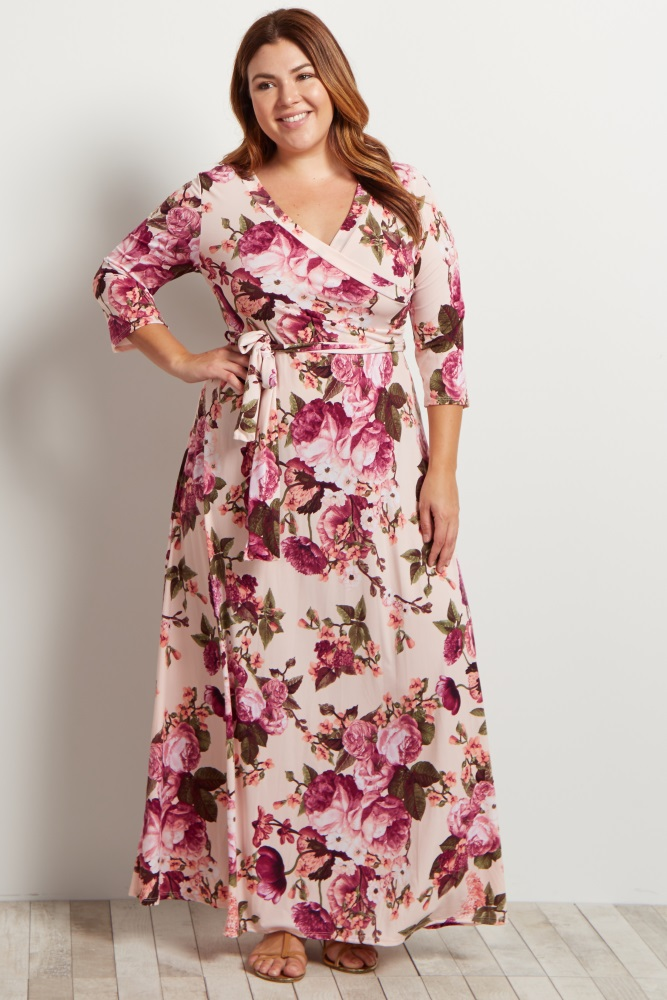 Light Pink Floral Draped Plus Maternity/Nursing Maxi Dress