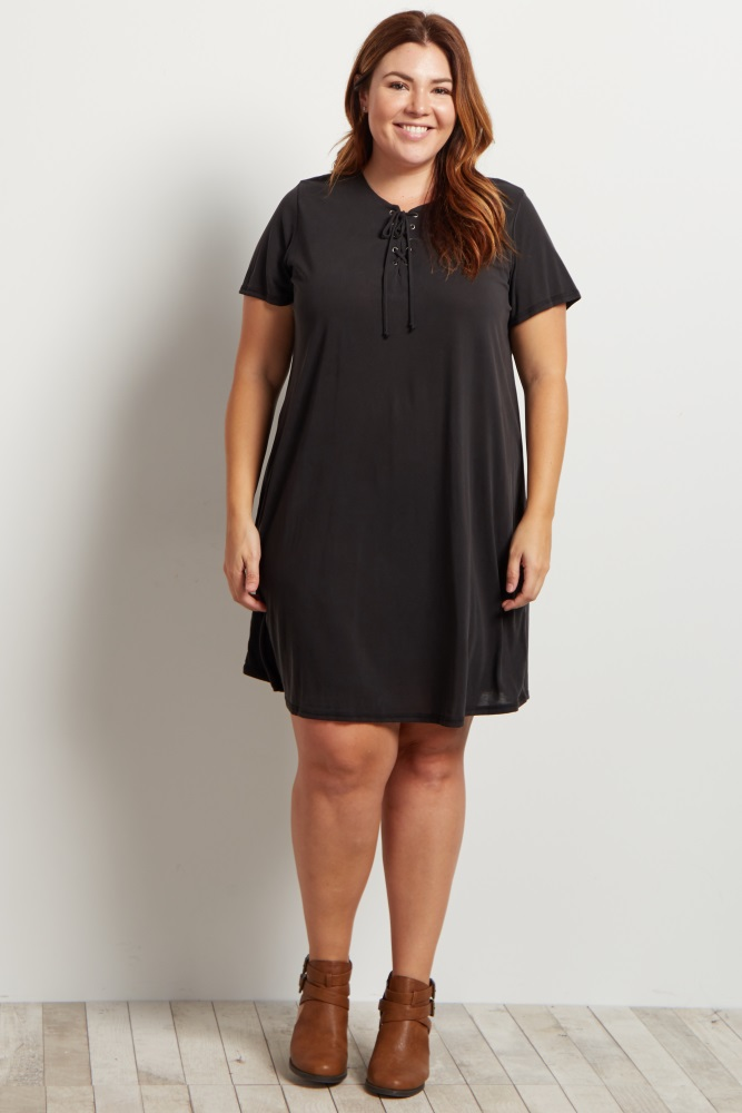 Black Lace-Up Front Short Sleeve Maternity Plus Size Dress