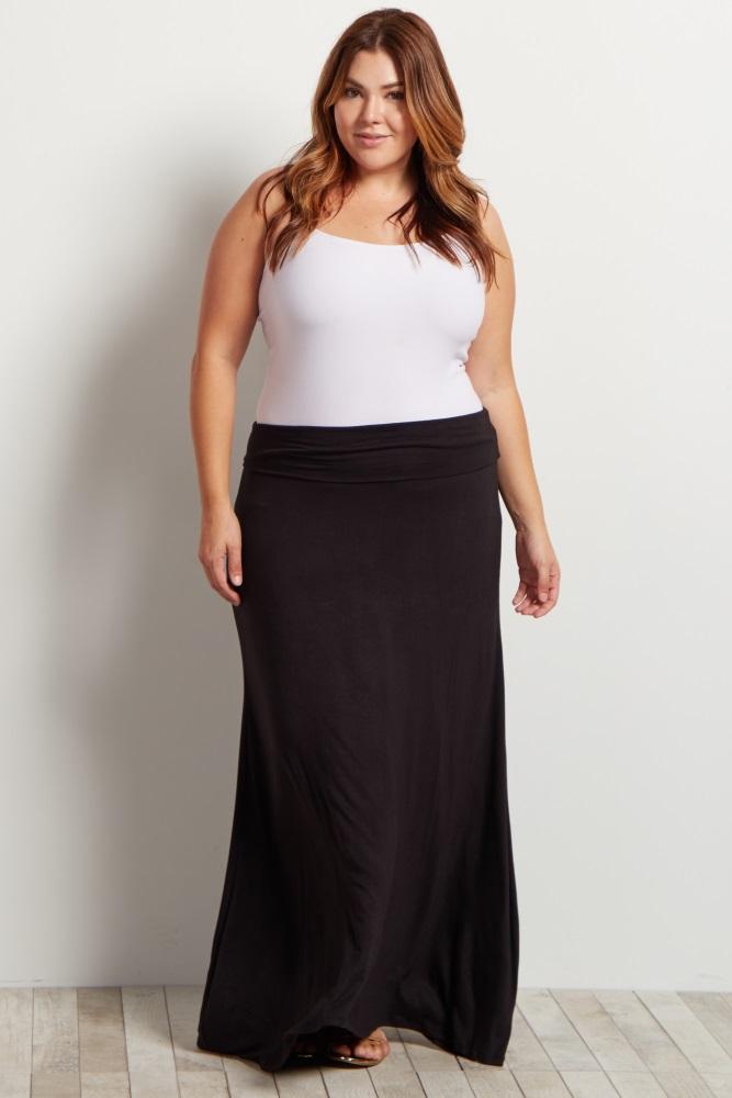 d76b219824eba Black Basic Plus Maternity Maxi Skirt