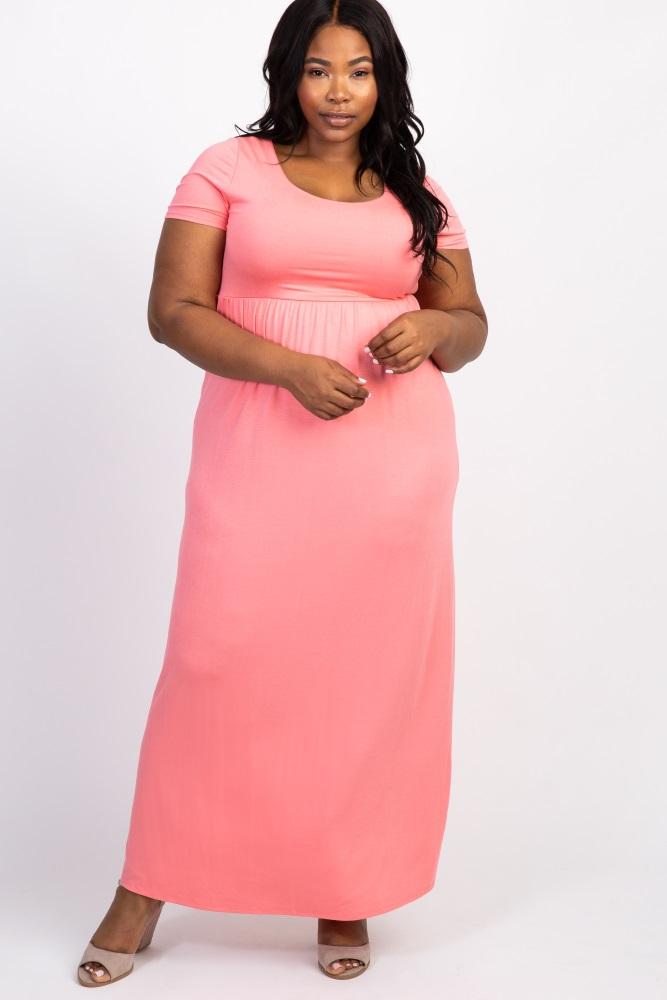 Coral Basic Short Sleeve Plus Size Maxi Dress