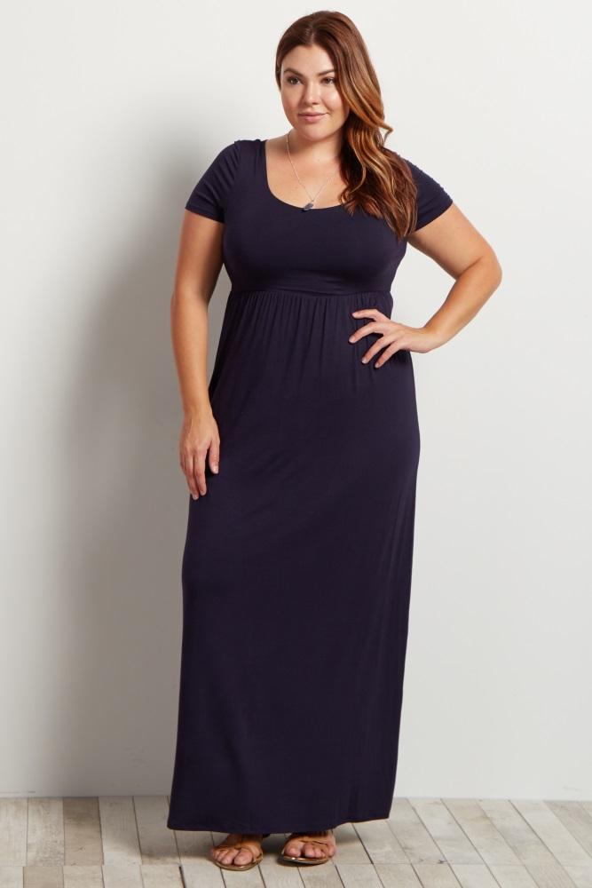 Navy Basic Short Sleeve Plus Maternity Maxi Dress