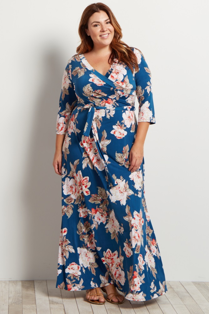 eff9e8c14b5 Navy Floral Plus Maternity Nursing Maxi Wrap Dress