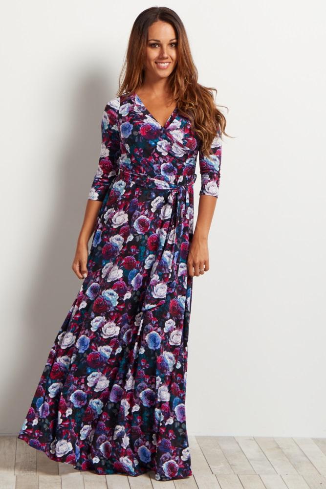8a115e68f41 Magenta Rose Floral Wrap Maternity Nursing Maxi Dress