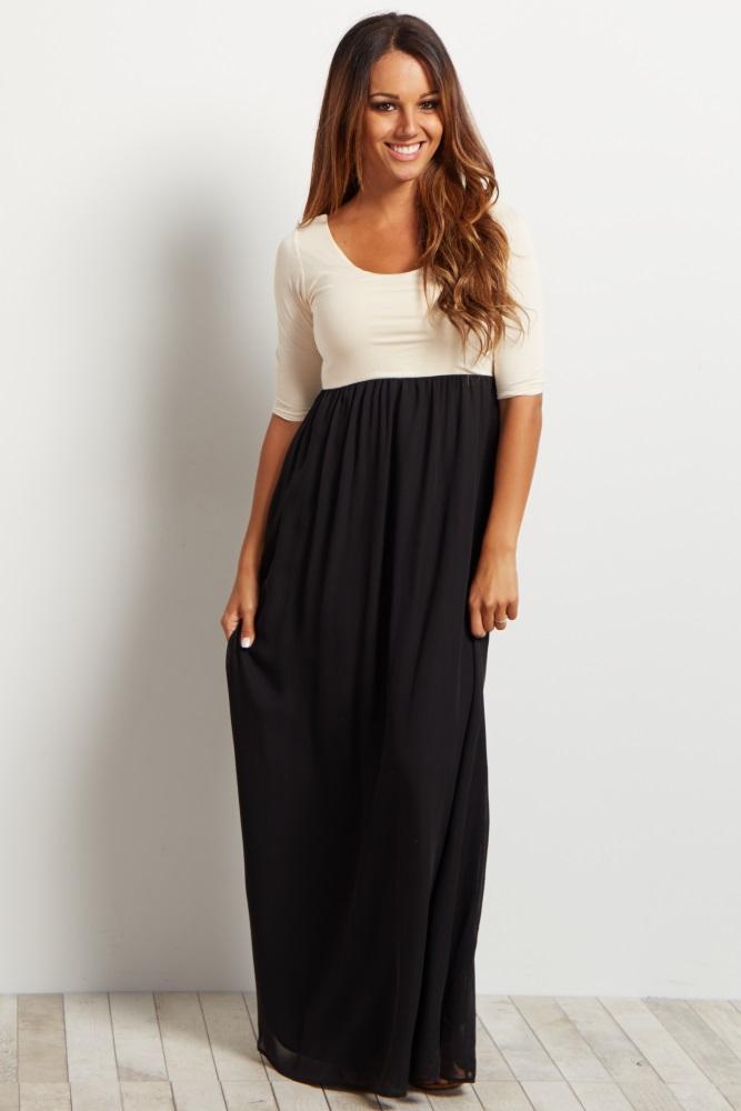 black chiffon colorblock maxi dress