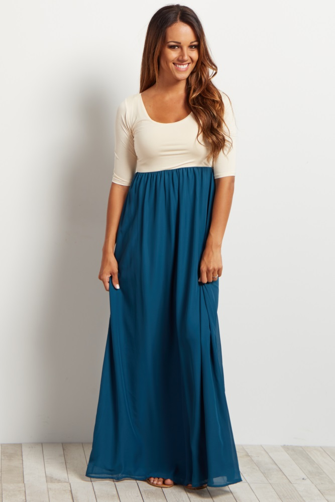 a0a8a2096f6 Teal Chiffon Colorblock Maternity Maxi Dress
