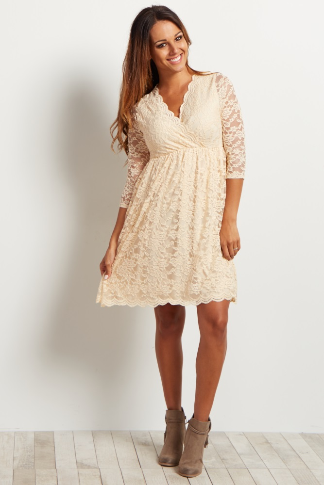 1ccd61c4399 Beige Lace Overlay Wrap Maternity Dress