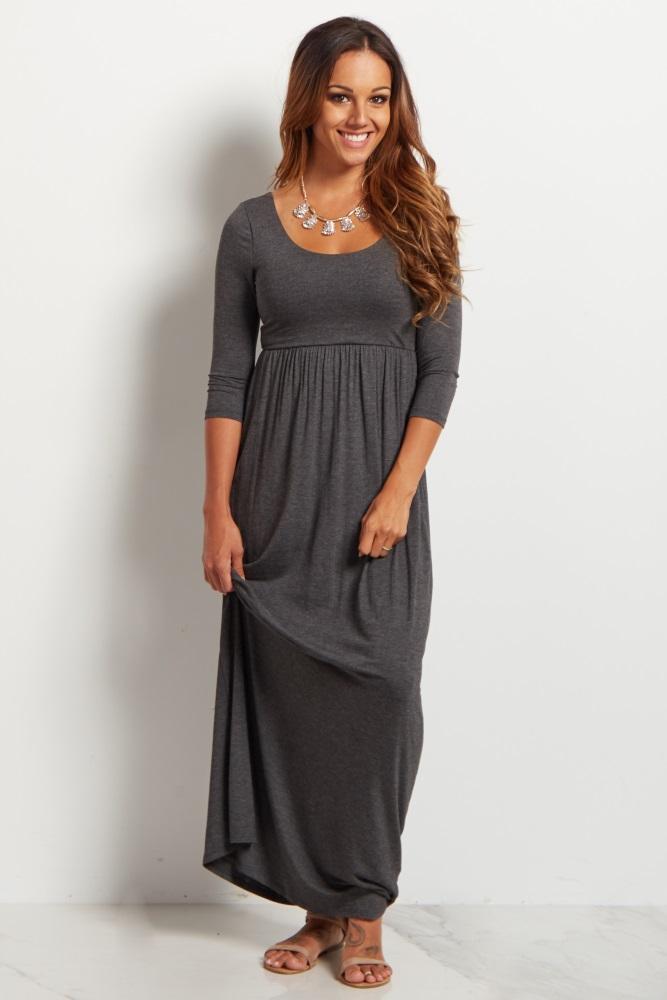 b816ba7030 Charcoal Grey 3 4 Sleeve Maternity Maxi Dress