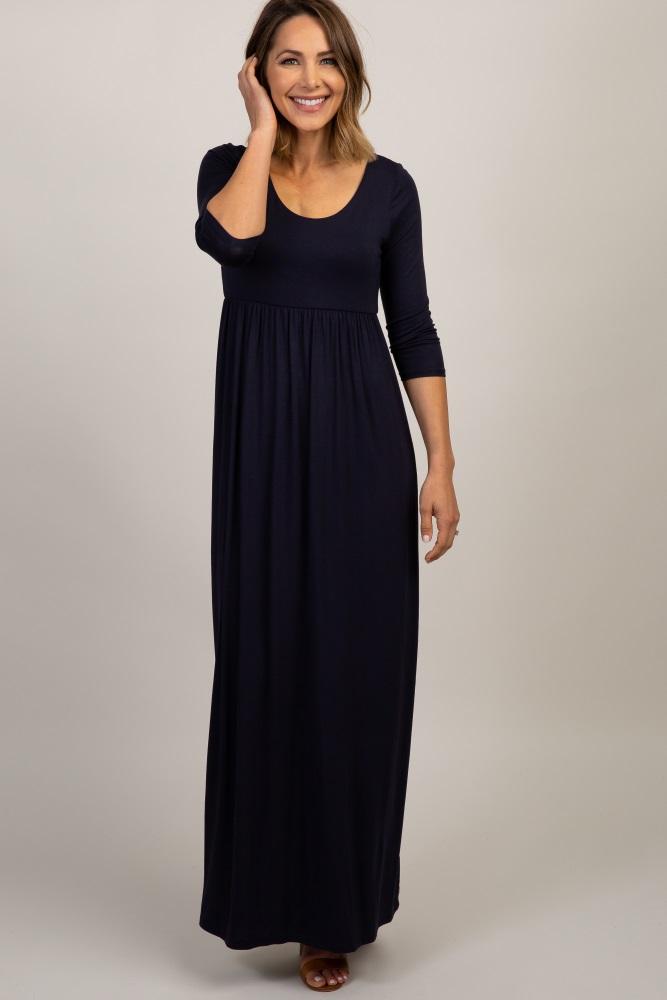navy 3/4 sleeve maxi dress