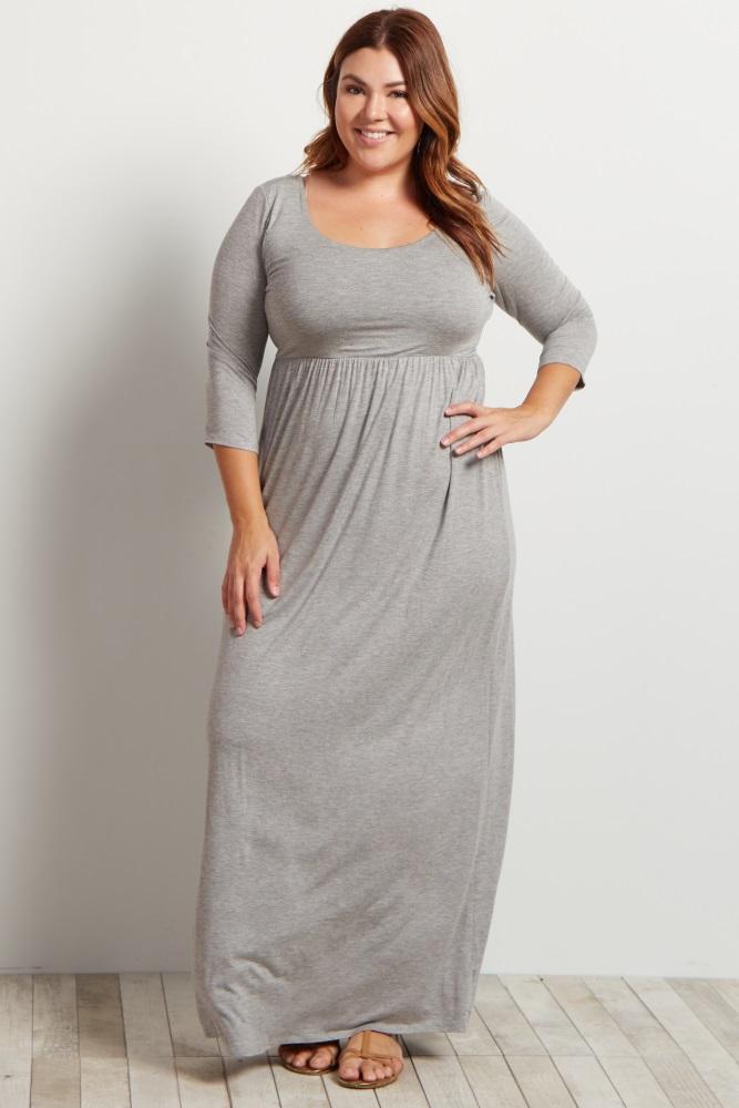 Grey 3/4 Sleeve Plus Maxi Dress