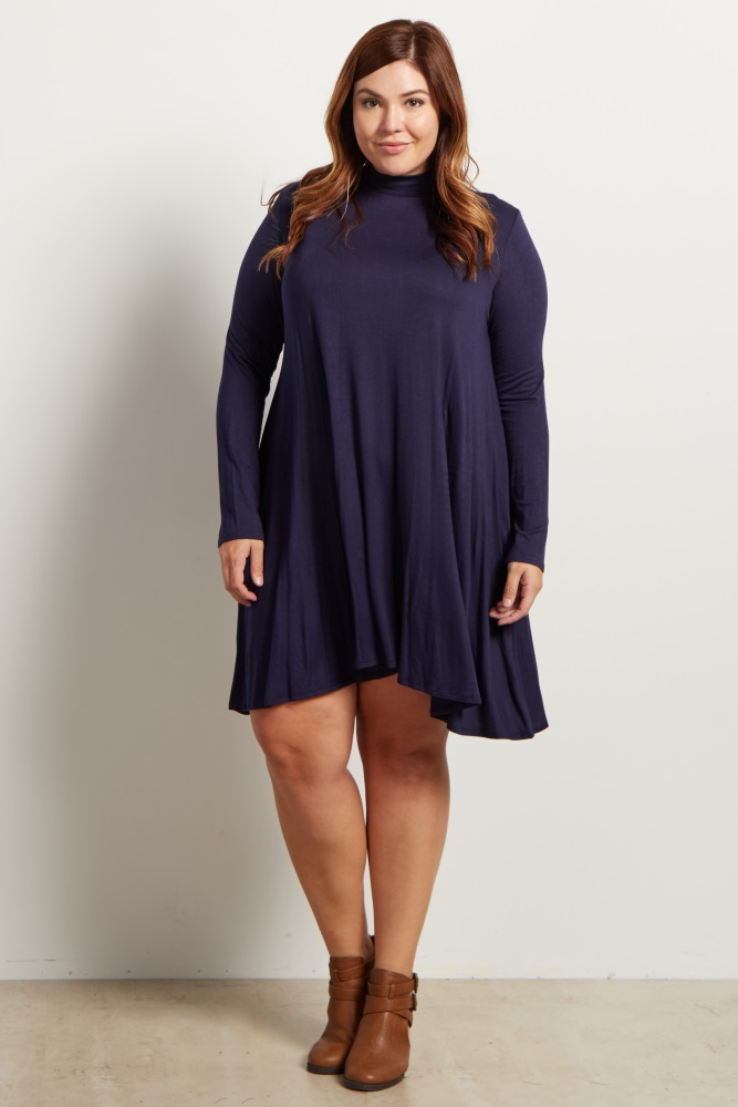 Navy Blue Basic Mock Neck Plus Size Dress