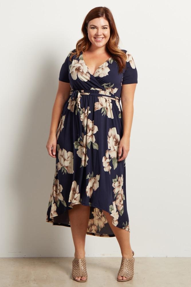 849f75d3517 Navy Floral Hi Low Midi Plus Maternity Wrap Dress
