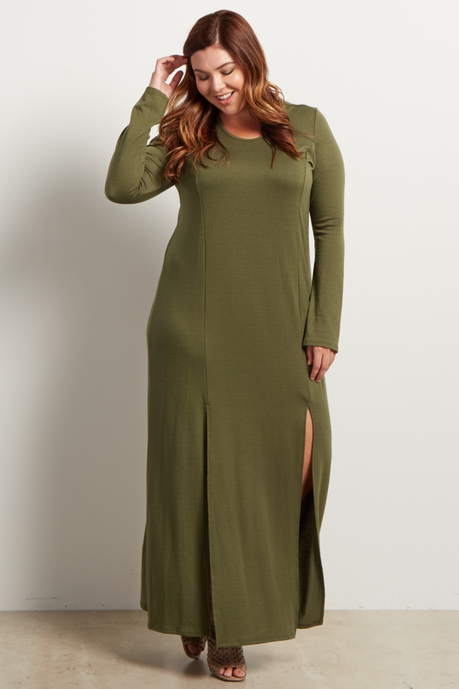 Olive Green Solid Plus Size Maternity Maxi Dress