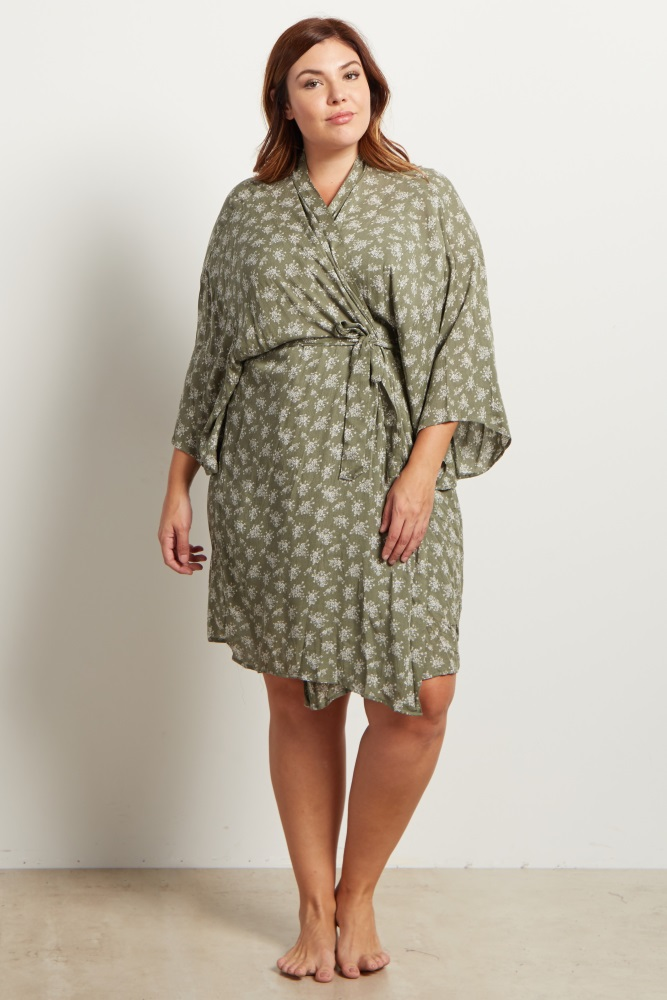 Olive Green Printed Delivery/Nursing Plus Size Maternity Robe