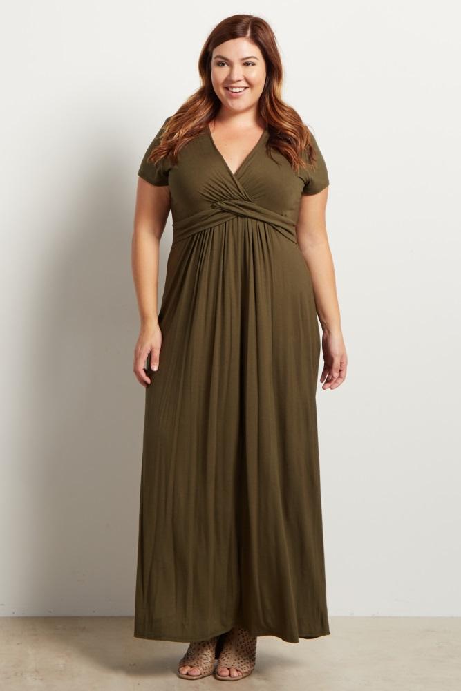 Olive Green Draped Maternity/Nursing Plus Size Maxi Dress