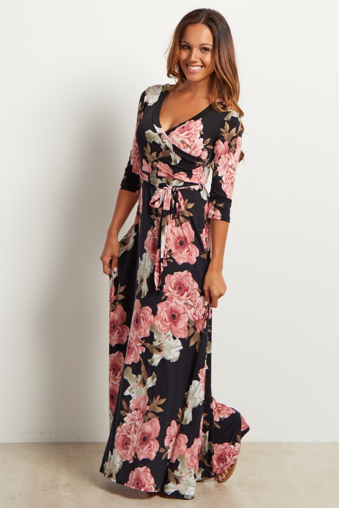 697c81f5eed Black Floral Sash Tie Maternity Nursing Maxi Dress