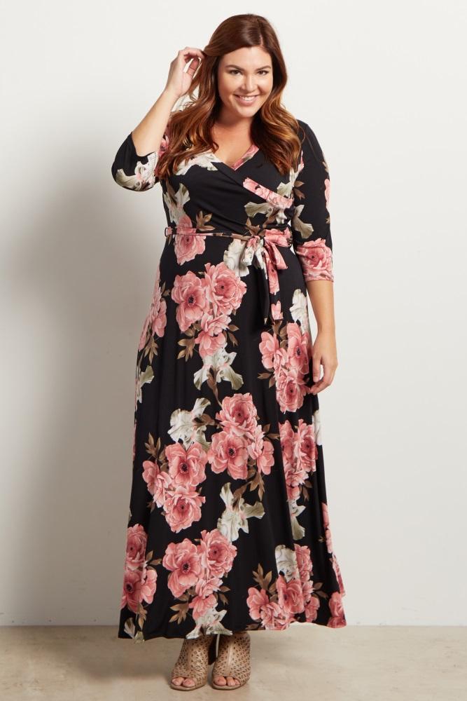 Black Floral Sash Tie Maternity/Nursing Plus Size Maxi Dress